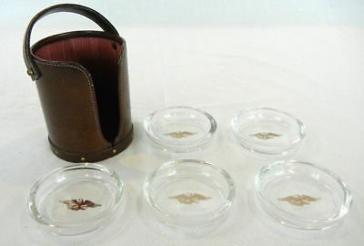Vintage, Leather Coaster Caddy with 5 Glass Coasters, Heirloom Bosca