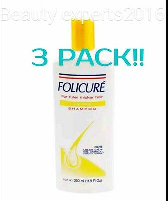 3PACK!!  FOLICURE EXTRA SHAMPOO FULLER THICKER HAIR  Reduces hair loss 72% 350ml