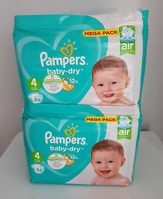 LOT DE 172 (2x86) COUCHES PAMPERS BABY-DRY TAILLE 4 MEGA PACK 9-14 kg NEUF