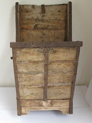 Antique Primitive Box Wood with Hand Forged Iron Straps Unusual and a Great Look