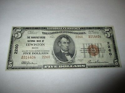 $5 1929 Lewiston Maine ME National Currency Bank Note Bill! Ch. #2260 VF!