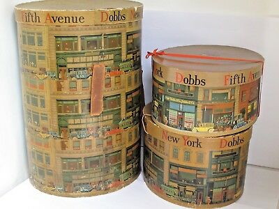 Antique Extra Tall Dobbs Fifth Ave. New York Hat Box With 2 Additional Boxes