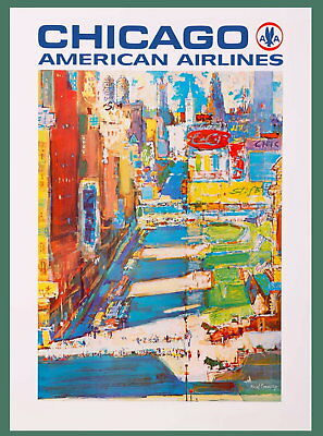 96924 Chicago Illinois American Airlines United Decor WALL PRINT POSTER FR