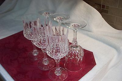 6 Used Cristal D'Arques Longchamp Water Goblets, excellent, no chips or cracks
