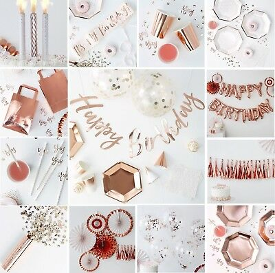 ROSE GOLD Party Tableware Decorations Sashes Balloons Birthday Plates Luxury Box