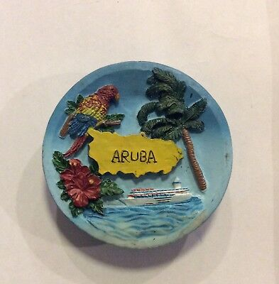 Aruba Caribbean Island Travel Souvenir Colorful Round Risen Fridge Magnet