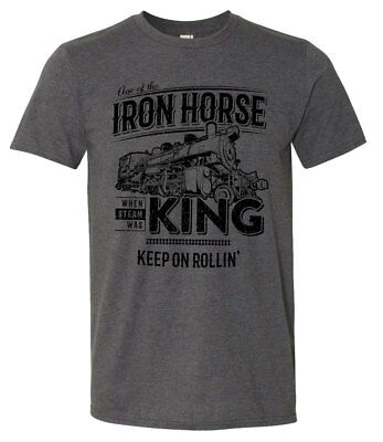 IRON HORSE Railroad WHEN STEAM was KING Adult T-SHIRT Size XL