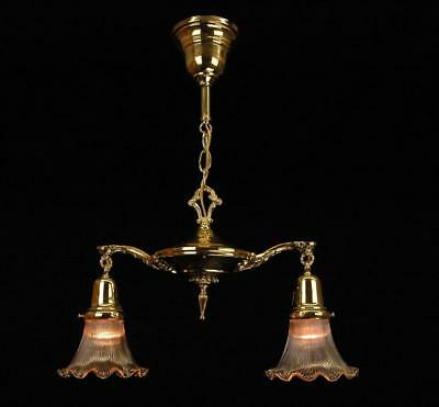 Antique Restored Late Victorian Polished Brass Two Arm Pan Fixture #2