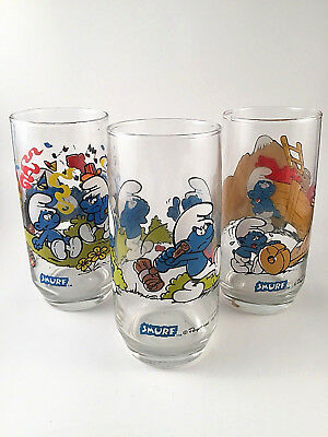 Smurfs Collector Glasses 1982 Brainy Hefty Harmony (set of 3)