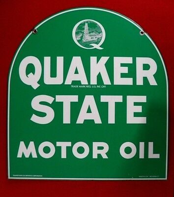 Original Vintage Quaker State Tombstone Double Sided Sign, Mca Version Q Logo!