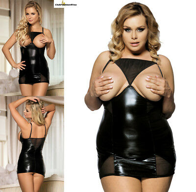 PLUS SIZE DESSOUS | Black Open Cup Leather Babydoll | XS-4XL R70338-HH