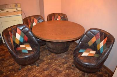 Mid Century  Furniture Whiskey Barrel Set  of 4 Chairs & Table NICE