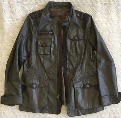 VINCE Mens Brown Waxed Cotton + Leather Army Military Cargo Pocket Coat Jacket L