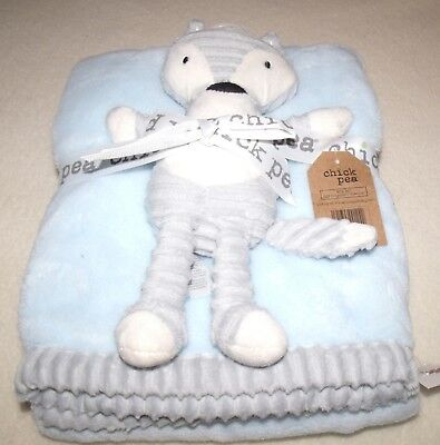 chick pea gray white fox plush toy with blue and gray trimmed baby blanket nwt