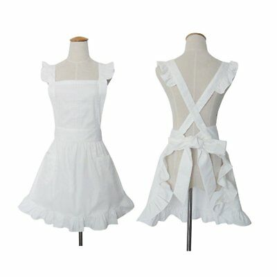 Cute White Retro Ladyu0027s Aprons For Womenu0027s Kitchen Cooking Cleaning Maid  Costume