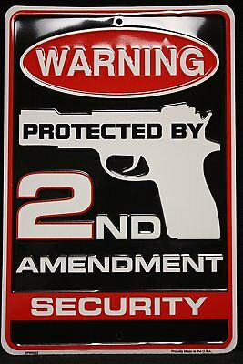 Warning Protected By 2nd Amendment Security Metal Sign, (8 X 12 Inches) Embossed