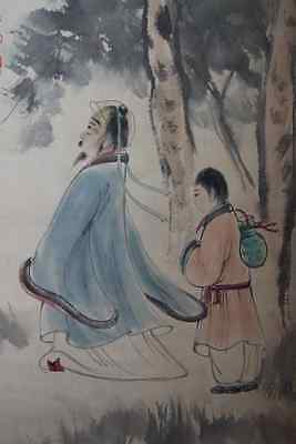 """Chinese 100% Hand Scroll Painting """"People"""" By Fu Baoshi 傅抱石"""