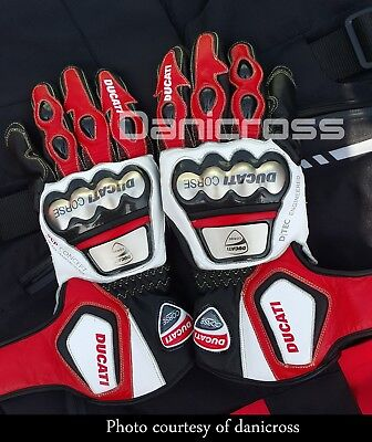 Ducati Corse Motorbike Leather Racing Gloves Metal Protection