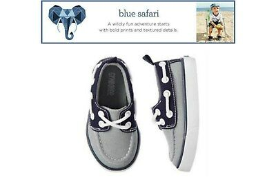 NWT Gymboree Blue Safari Boy's Gray & Navy Canvas Shoes U-Pick Sizes: 5,6,10,11
