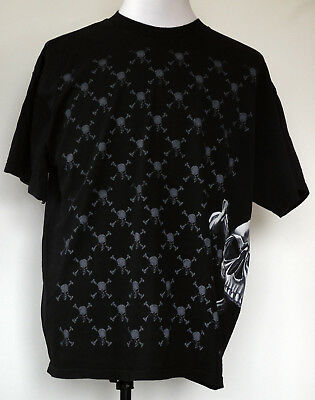 Hybrid Tees Skull  & Crossbones Front and Side Graphics Black S/S T-Shirt XL