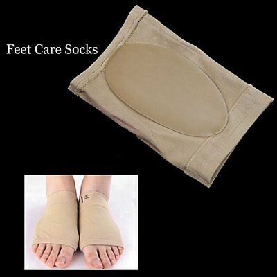 1 Pair Feet Care Pads Patch Socks Gel Plantar Fasciitis Arch Support Socks XR S3