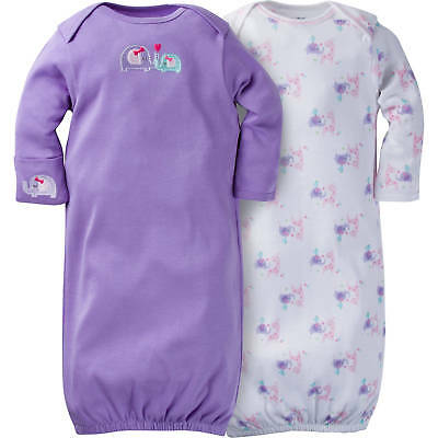 Gerber Baby Girls Size 0-6 Months Lap Shoulder Gown 2 Pack NEW Elephant Safari
