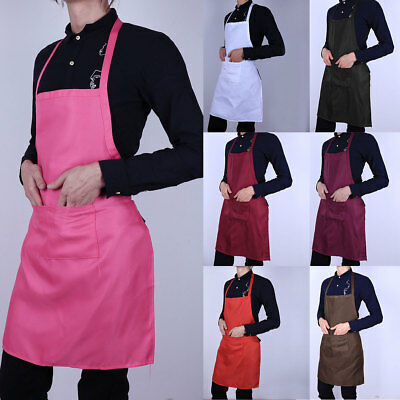 Unisex Apron Dress with Pocket Plain for Cooking Kitchen Chef Catering Work Bib
