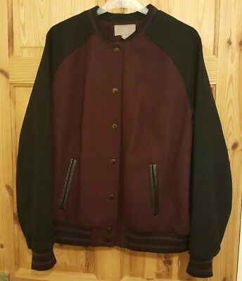H&M black and maroon red wool blend bomber jacket