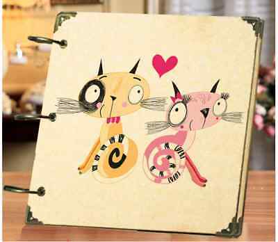 DIY 30 Black Pages 18x18cm Lover Cat Kraft Cover 3-ring Photo Album Scrapbook