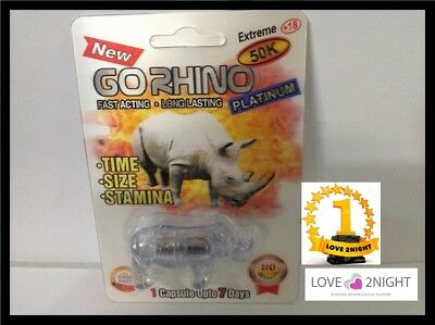 Go Rhino Platinum 50K 3D / Male Enhancement Sex Pills / x 3 Pack  /LOVE 2NIGHT