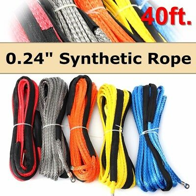 Synthetic Winch Line Cable Rope 6500+ LBs with Sheath SUV ATV Vehicle 6mm x 12m
