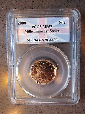 "2000 Great Britain Gold Sovereign graded MS67 by PCGS ""Millennium 1st Strike"""