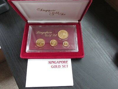 1984 Singapore Mint Gold 4 Coin Set w/Display Case and COA