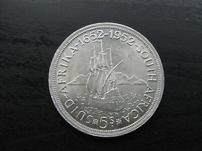 1652-1952 South Africa Silver 5 Shillings in BU Condition