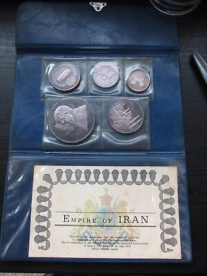 1971 Empire of Iran 5 Silver Coin Proof Set W/Original Case and Coa