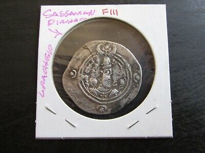 Sassanian Kingdom 224-632 CE Silver Dirham in XF Condition (Crack)