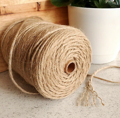 200m Natural Jute Twine Cord String DIY Gift Wrap Craft Decor Macrame 6-Ply 4mm