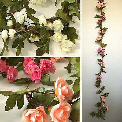Rose Garland 230cm White or Pink & Peach Artificial Greenery Wedding Party Decor