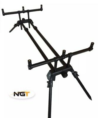 Extendable Duel Rod Pod NGT in Black with Protective Case 3 Fishing rod Capacity