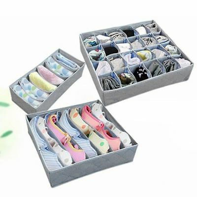 3PCS Underwear Bra Socks Ties Divider Closet Container Storage Box Organizer AGS