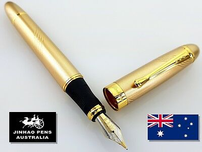 JINHAO X450 Gold Curve Fountain Pen Medium Nib + 5 Free Black Cartridges