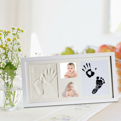 Wooden Baby Hand & Foot Print Photo Frame Kit With Ink Pad New Baby Gifts