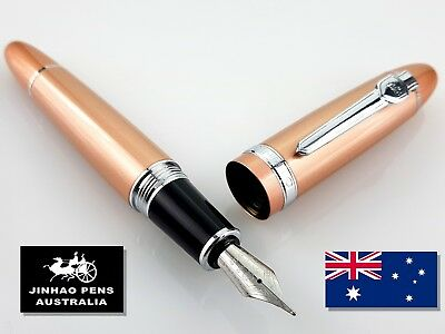 JINHAO 159 Rose Gold Fountain Pen Medium Nib + 5 Free Black Ink Cartridges
