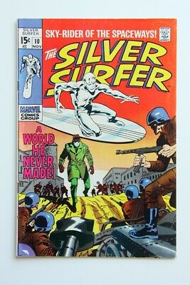 """Silver Surfer #10_November 1969_Fn +_""""a World He Never Made""""_Silver Age!"""