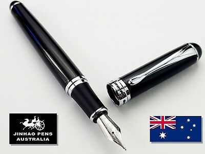 JINHAO X750 Gloss Black Fountain Pen Medium Nib + 5 Black Cartridges
