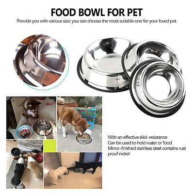 S/M/L/XL Stainless Steel No tip Non SLIP Dog Puppy Pet Food Water Bowl Dish er