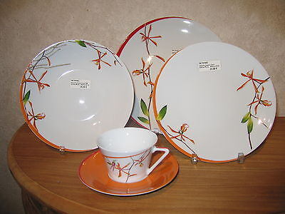 PHILIPPE DESHOULIERES *NEW* EXOTICA ROUGE ORANGE 7415 Set 3 Assiettes + 1 Tasse