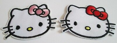 Hello Kitty Embroidered Patch Sew/iron On Pick Red Or Pink Bow~Usa Seller~