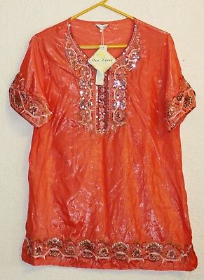 HUA CHENG womens sheer silk CORAL embroidered sequin tunic smock top oriental  L