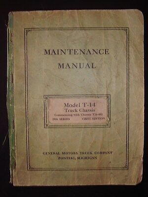 Vintage Original 1936 GMC Chevy Model T-14 Pickup Chassis Service Manual